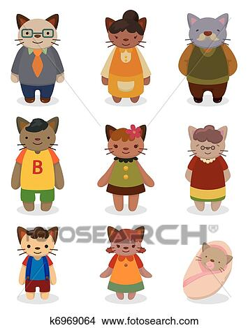 Clipart of cartoon cat family icon set k6969064 - Search ... (355 x 470 Pixel)