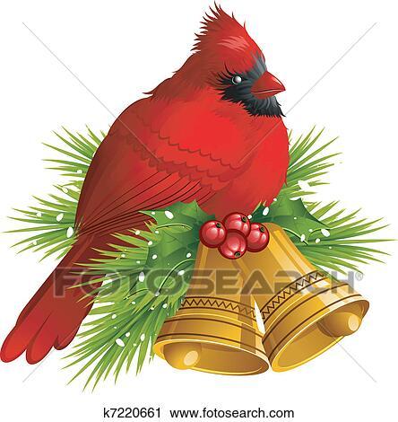 Clipart Of Cardinal Bird With Christmas Bells K7220661