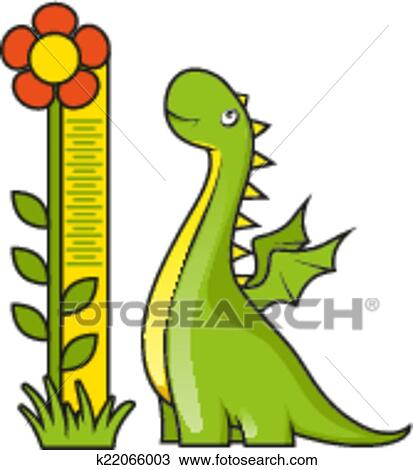 Cute Little Dragon With Height Measuring Scale Clipart