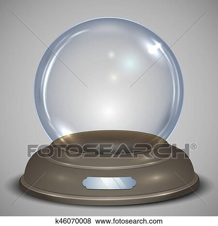 Empty Glass Snow Globe Vector Template With Transparency Traditional Christmas Gift Eps10 Layered Template Clip Art K46070008 Fotosearch