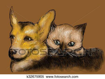 Lustige Tiere Kleine Welpen Und Katzchen Spielen Im Freien Im