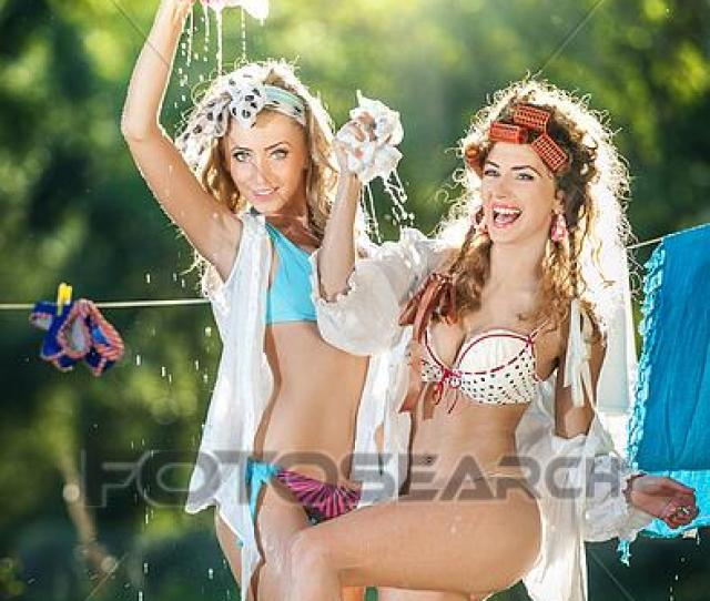 Stock Photograph Two Sexy Housewives Outdoor Fotosearch Search Stock Photography Posters