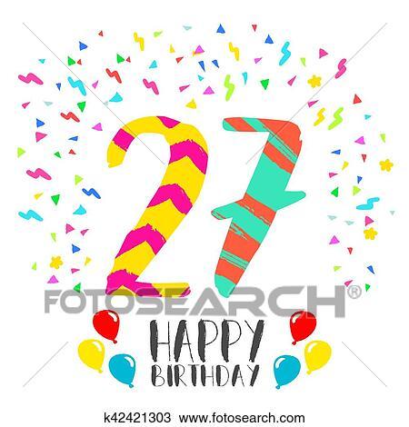 Geburtstagskarte Zum 27 Geburtstag Geburtstagskarte Karten