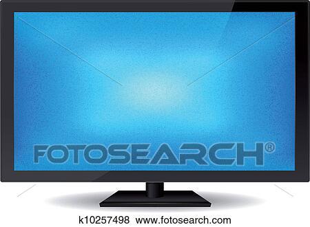elegant plat lustre ecran bleu tv clipart