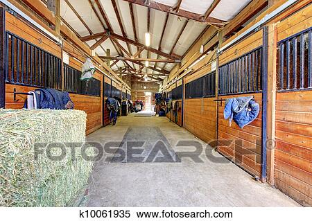gentil grand cheval ecurie hangar interior