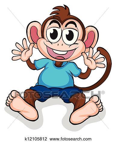 Clipart of A happy monkey k12105812 - Search Clip Art ... (385 x 470 Pixel)