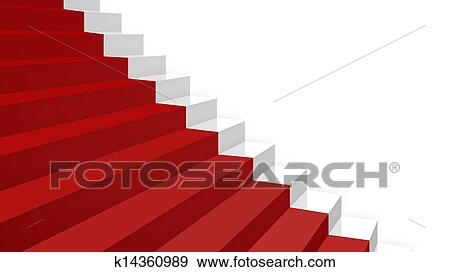 Close Up White Stairs In Diagonal Perspective With Red Carpet | Stairs With Red Carpet | Event | Gold | Spiral Staircase | Traditional | White