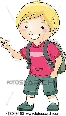 Clipart of Student Boy Pointing Finger k13048460 - Search ... (268 x 470 Pixel)