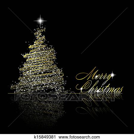 Clipart of Golden Christmas tree made of gold ribbons and ... (450 x 470 Pixel)