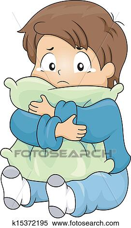 kid boy crying while hugging a pillow