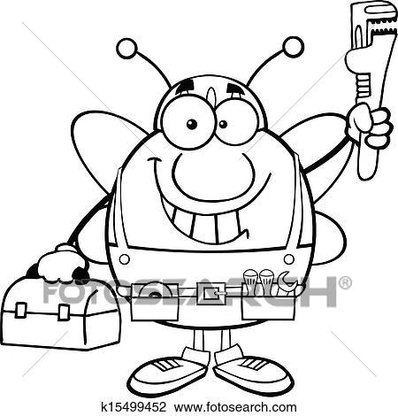 Schwarz Weiß Pudgy Biene Klempner Clipart