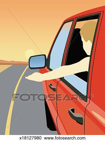 Stock Illustrations of Young boy sticking arm out car ... (352 x 470 Pixel)