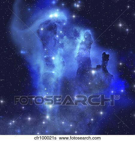 Les Brillant Bleus De Ceci Etoile Confection Nebuleuse Eclat Partout Les Cosmos Banque D Illustrations Cfr100021s Fotosearch