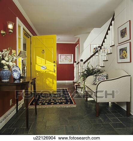 wide hall green slate tile floor area