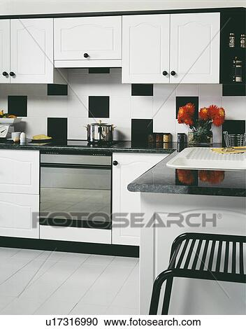 wall above oven in modern white kitchen