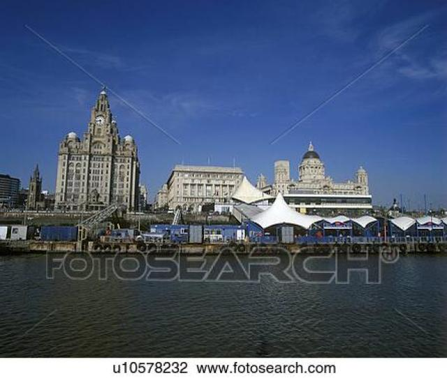 England Merseyside Liverpool A View Of Liverpool From The Ferry On The River Mersey