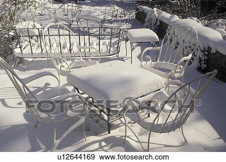 banque de photographies neige hiver atlanta georgie neige sur meubles exterieurs dans a patio apres les blizzard snowstorm de 1993 dans