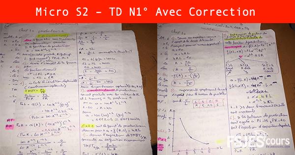 Micro S2 – TD N°1 Avec Correction