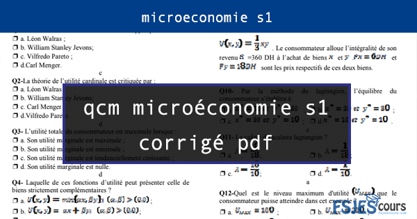 qcm microéconomie s1 corrigé pdf