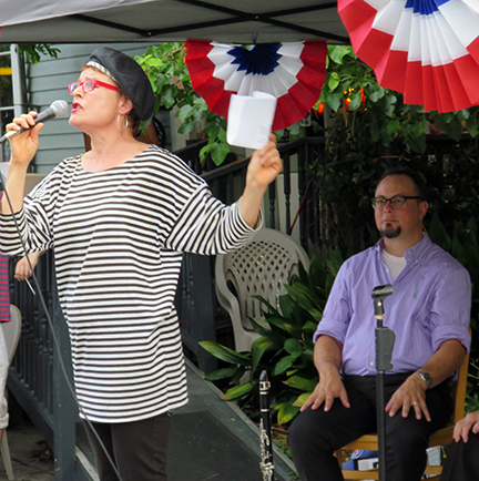 "Cynthia Scott singing ""La Marseillaise"" (the French National Anthem) at Bastille Day in Faubourg St. John... in french of course!"