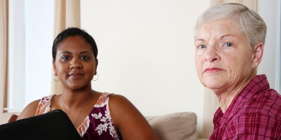 African American Counselor with Older woman