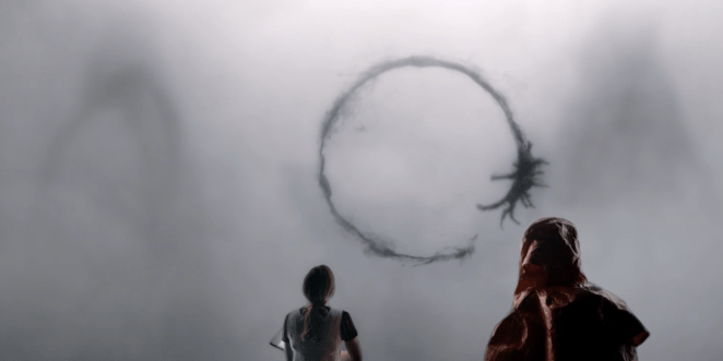 Inky black circular logograms secreted by the aliens in Arrival (2016)