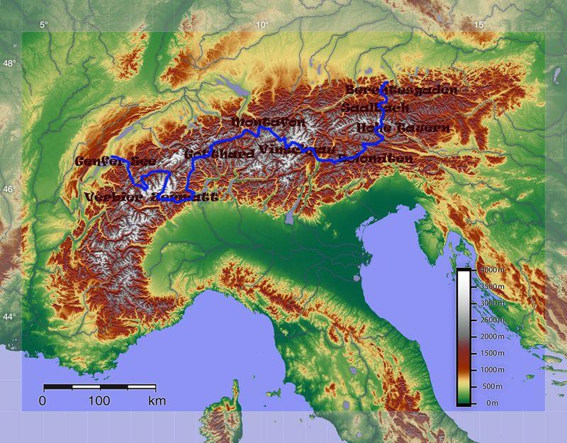 Die Route: in zwei großen Bögen durch die Zentralalpen
