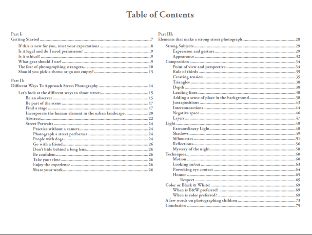 Table of Contents for Valérie Jardin's eBook Street Photography: First steps and beyond