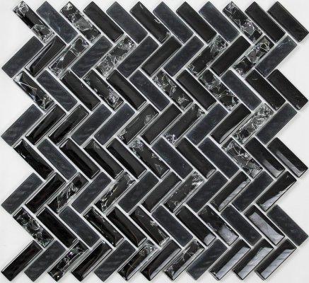 ice crackle mosaic black herringbone