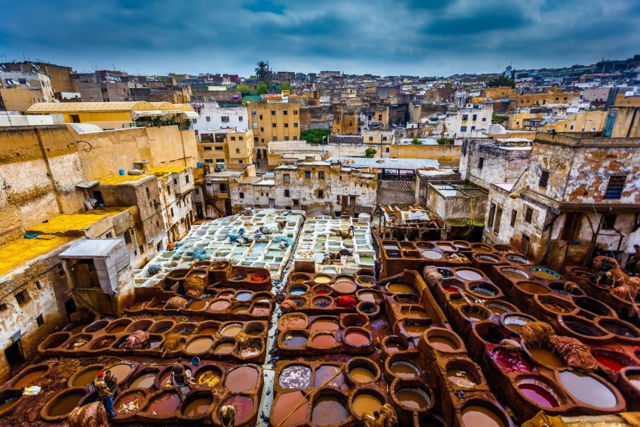 Cloth dying on a rooftop in Morocco
