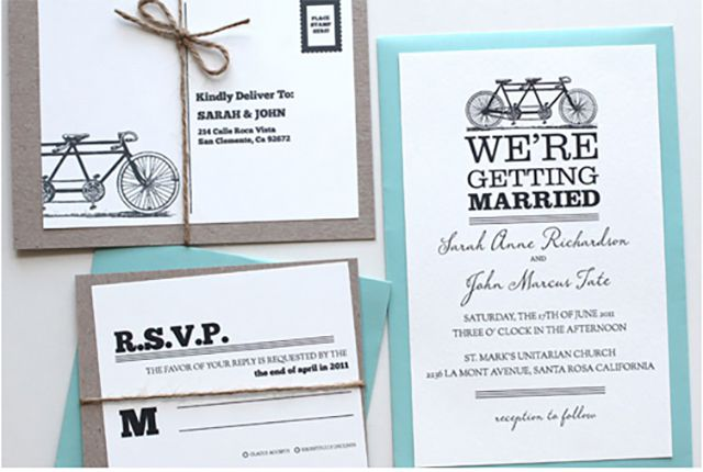 Bicycle Printable Wedding Invitation
