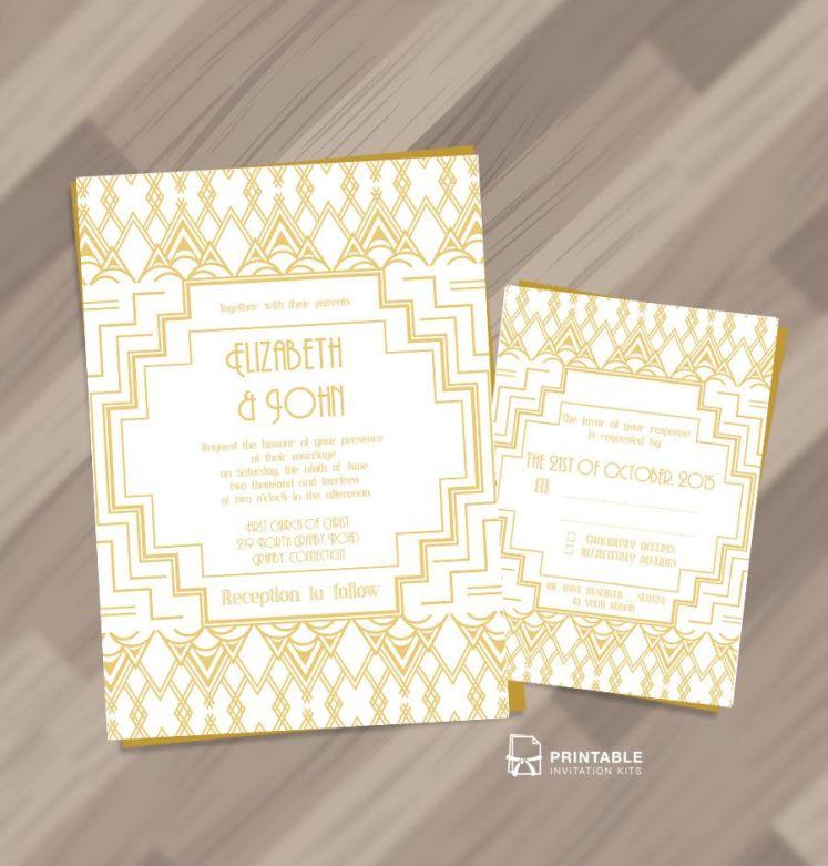 Art Deco Printable Wedding Invitation