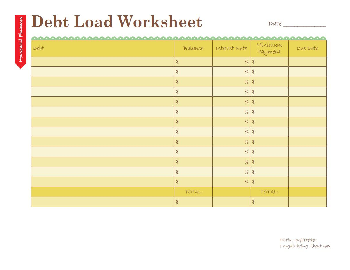 Calculate Your Debt Load Worksheet