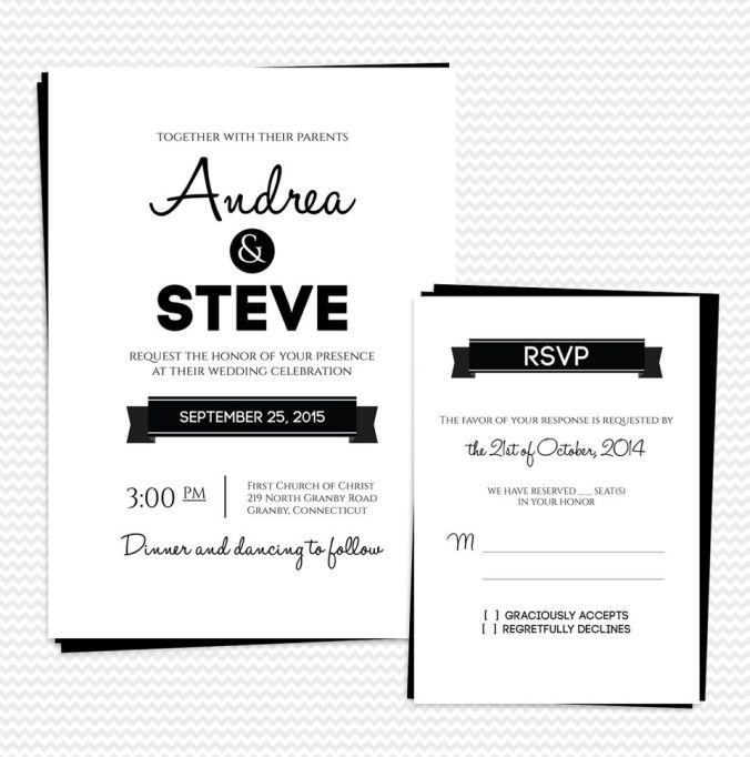 Modern Text Printable Wedding Invitation