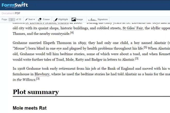 Screenshot of FormSwift's free online PDF editor
