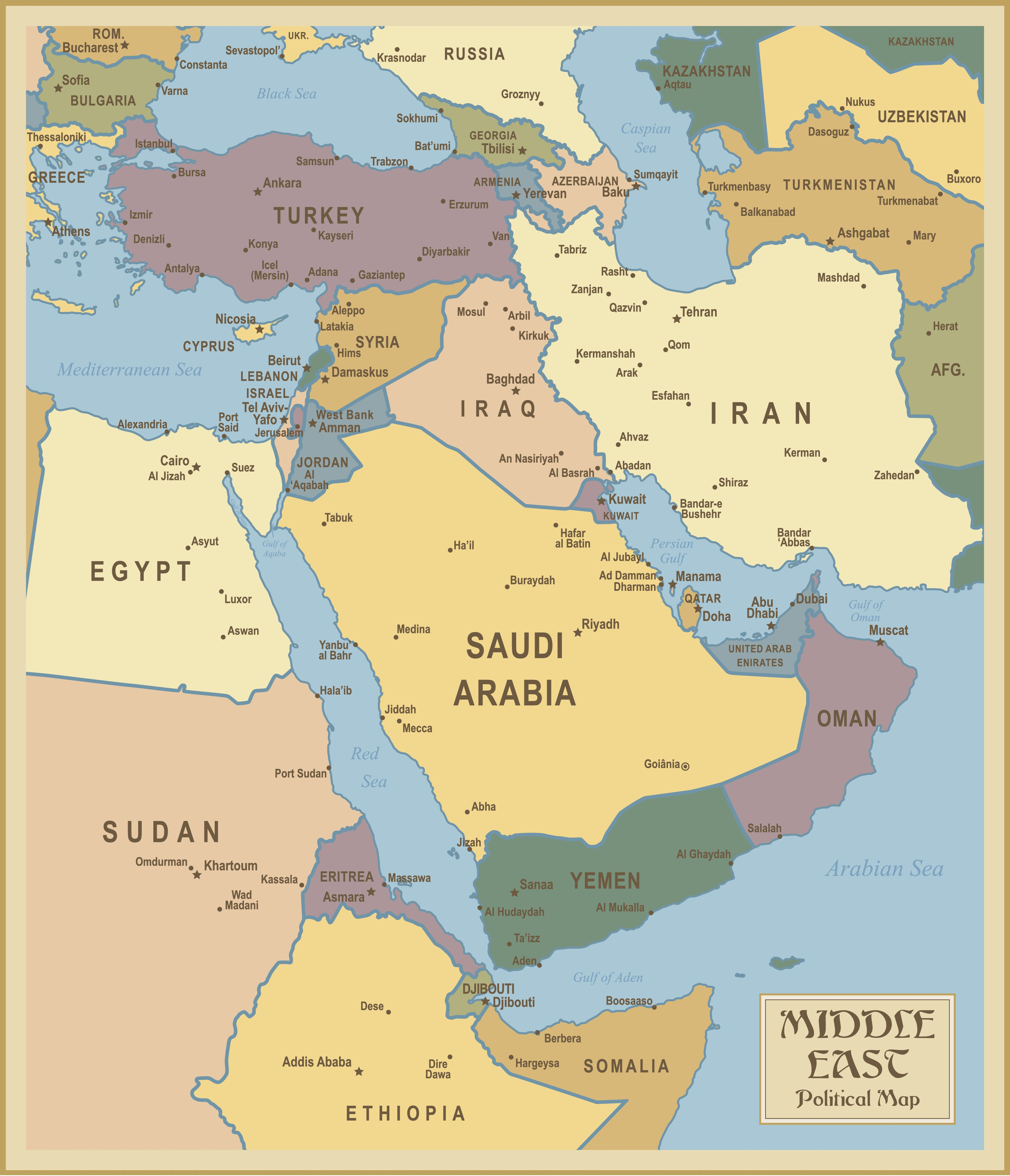Red Sea And Southwest Asia Maps