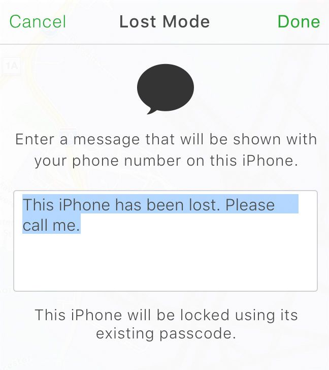 Setting lost mode in Find My iPhone