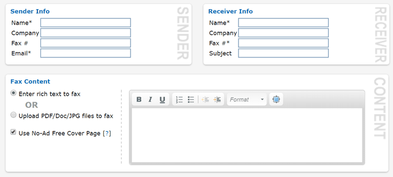 Screenshot of the Got Free Fax service