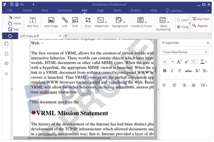 Screenshot of PDFelement Pro