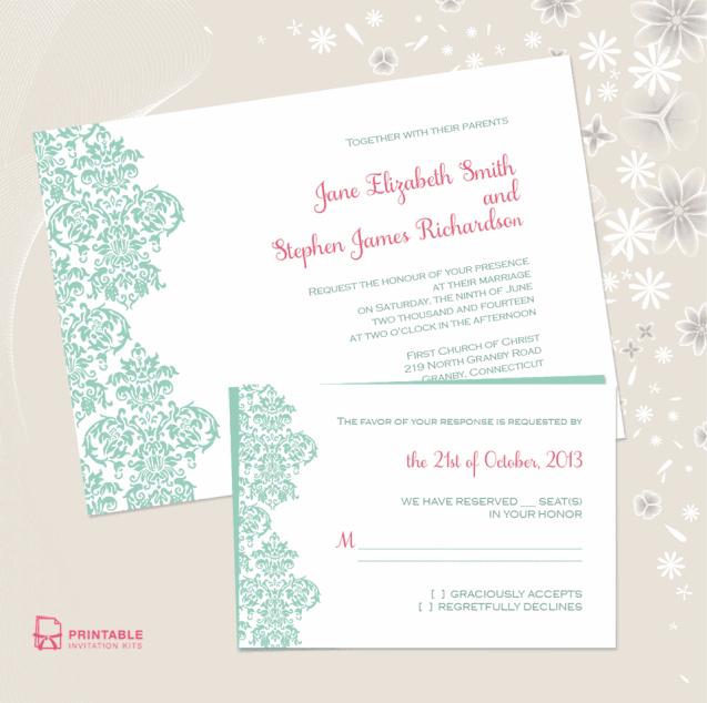 Damask Edge Printable Wedding Invitation