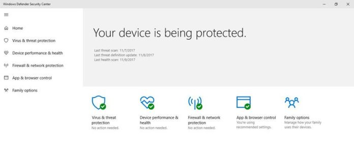 A picture of Windows Defender enabled.