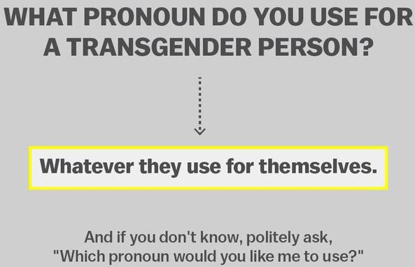 Gender-specific pronouns are NOT rocket science ...