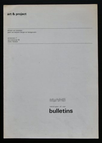 art project bulletins catalogue 1972
