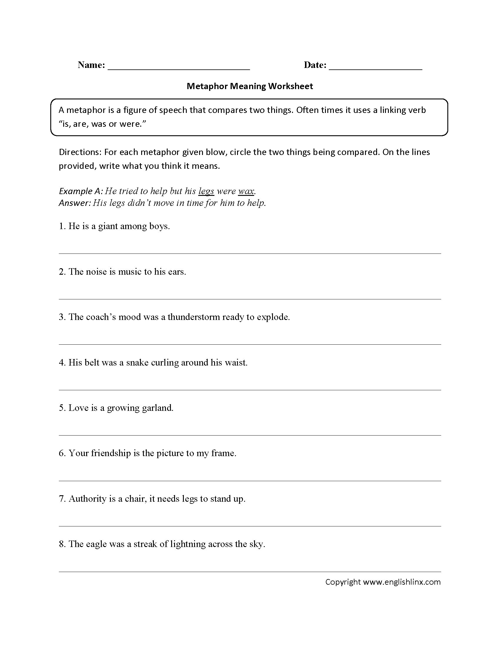 Metaphors Worksheets