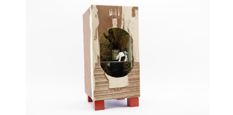 Portfolio photo of boxed assemblage art by Frank Turek