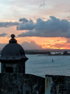 Night time views from the one of San Juan Puerto Rico's historic forts.
