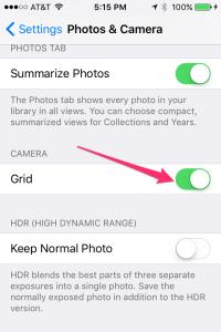 iOS camera grid display setting