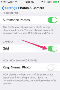 iOS camera grid display setting