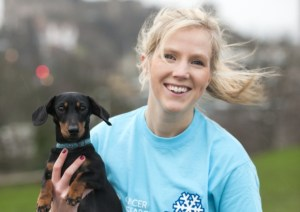 Parsnip and Heather promoting Cancer Research's Snowflake 10k in Edinburgh