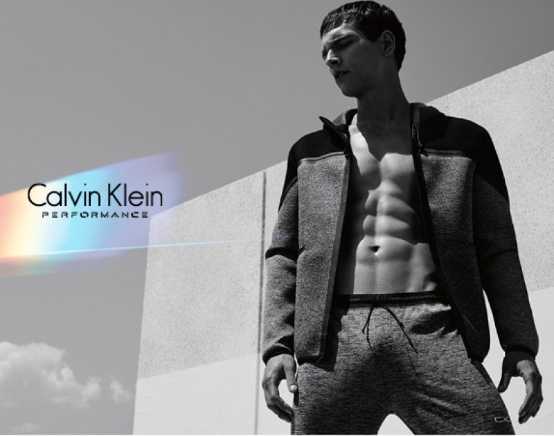 Brazilian model Alexandre Cunha modeling the Fall/Winter 2015 campaign of Calvin Klein Performance.